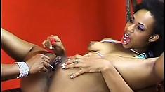 Wild ebony lesbian enjoys fingering this slim babe's amazing muff