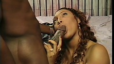Stacked ebony chick in sexy lingerie has a huge black rod pleasing her needy cunt