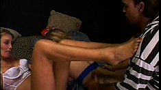Eager whores get into a threesome with a foot-loving superstud