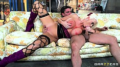 Busty blonde babe in fishnet stockings blows, gets fucked and blows again