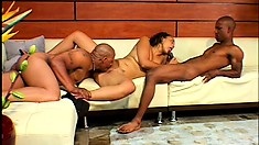 Slutty black girl gets used up and fucked and milked by two black cocks