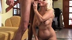 Ancient blonde grandma gets a stiff dicking in her moist snatch
