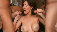 Cock-hungry MILF gets both her holes plugged with a rigid meat stick