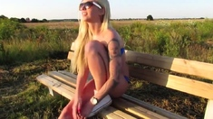 Blonde fucked on a bench