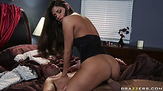 Brunette babe Madelyn Marie being penetrated by a hard and thick cock