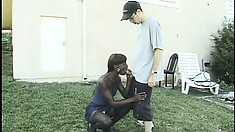 Sexy black college girl spreads her legs to let in a hard white cock