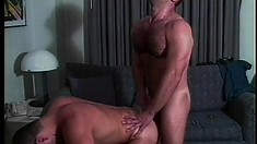 Muscled studs in uniform give each other blowjobs and enjoy anal sex