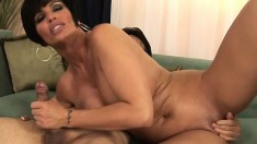 Short haired cougar with awesome big boobs Shay Fox is horny as hell