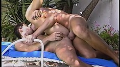 Sexy gay lovers suck each other's rods and fuck hard by the pool