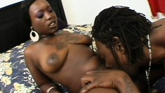 Big breasted Hershey gets covered in cum after a deep screwing