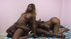 Black cutie Xtacee and her girlfriend have fun with dildos on the bed
