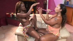 Black lesbian ladies reveal dripping pink slits in pussylicking romp