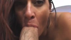 Chubby Milf with huge hooters gets oiled up to suck and fuck a huge prick