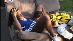 Sultry black hooker in cheerleader uniform is banged really hard
